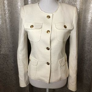 Zara Cream Textured Blazer Gold Buttons
